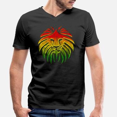 Dancehall LIKE A LION, Reggae Music Lion, Rasta Revolution, - Men's Organic V-Neck T-Shirt
