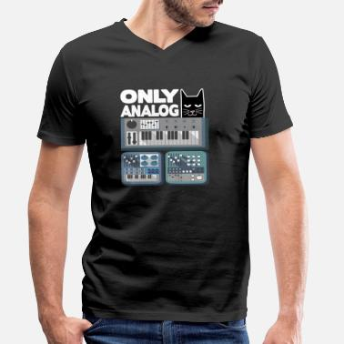 Alleen Alleen analoge Cat modulaire synthesizer synth drum - Mannen V-hals bio T-shirt