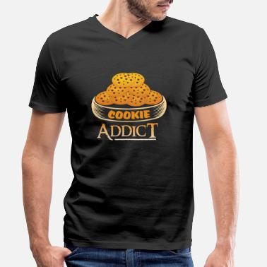 Addicted Cookie Addict Addicted to biscuits - Men's Organic V-Neck T-Shirt