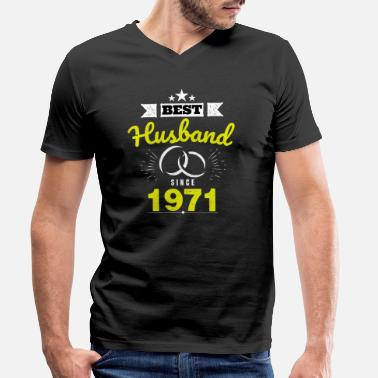 Anniversary Best Husband Since 1971 Married for 47 Years - Men's Organic V-Neck T-Shirt