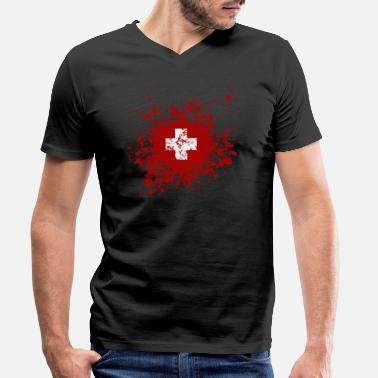 Switzerland Switzerland - Switzerland - Men's Organic V-Neck T-Shirt