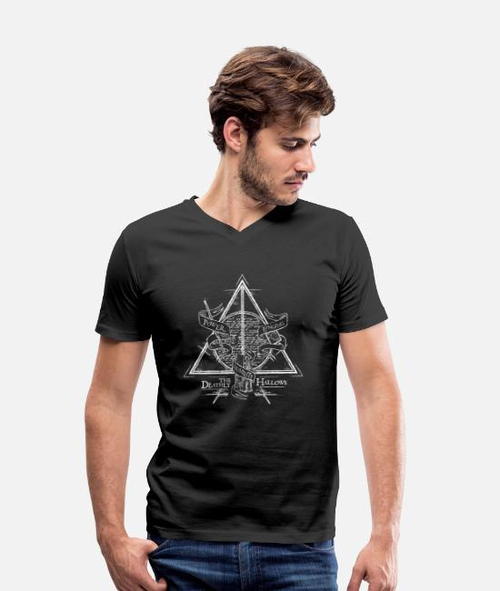 Official License T-shirts - Harry Potter The Deathly Hallows - T-shirt med V-udskæring mænd sort