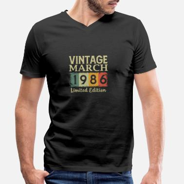 Happy Birthday Vintage 35th Birthday March 1986 Sports Gift - Men's Organic V-Neck T-Shirt