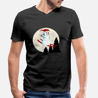 Snowman Snowman ski flying moon Christmas - Men's Organic V-Neck T-Shirt