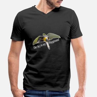Peregrine Sky is my playground. Peregrine falcon - Men's Organic V-Neck T-Shirt
