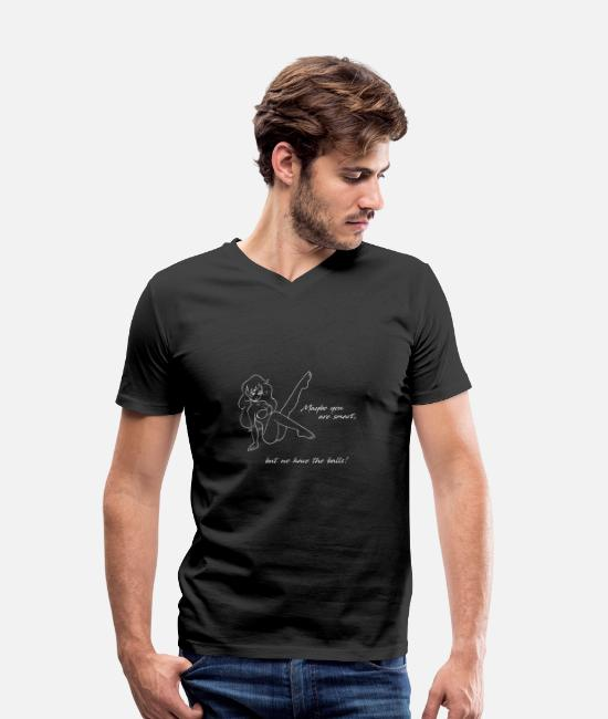 Daughter T-Shirts - Maybe you are smart, but we have the balls! - Men's Organic V-Neck T-Shirt black