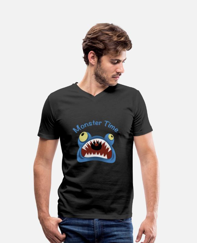 Creature T-Shirts - Monster Scare Scary Monster Time creature teeth - Men's Organic V-Neck T-Shirt black