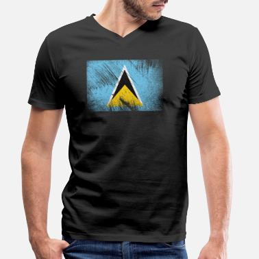 Scratch Saint Lucia Flag - Vintage Grunge - Men's Organic V-Neck T-Shirt