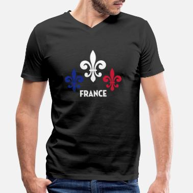 National France Français Française French Frankreich - T-shirt bio col V Homme