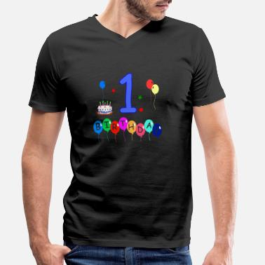 1st Birthday 1st birthday - Men's Organic V-Neck T-Shirt