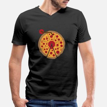 Daughter Pizza Vinyl Music Lover Vintage Funny Gift - Men's Organic V-Neck T-Shirt