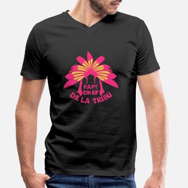 Chef De Tribu papy chef tribu coiffe indienne - T-shirt bio col V Homme
