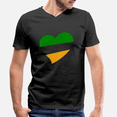 Green And Gold Green and Gold Heart - Men's Organic V-Neck T-Shirt