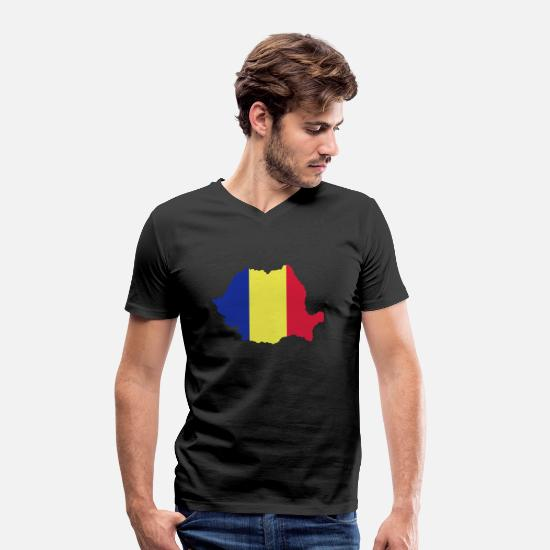 Romania T-Shirts - Romania - Men's Organic V-Neck T-Shirt black