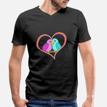 Love Birds Love birds - Love Birds - cuddly birds with gr - Men's Organic V-Neck T-Shirt by Stanley & Stella