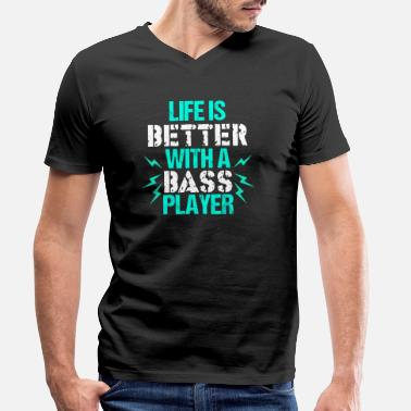 Band Rock Bassista Bass Guitar Musical Instrument Band Rock - T-shirt ecologica da uomo con scollo a V di Stanley & Stella