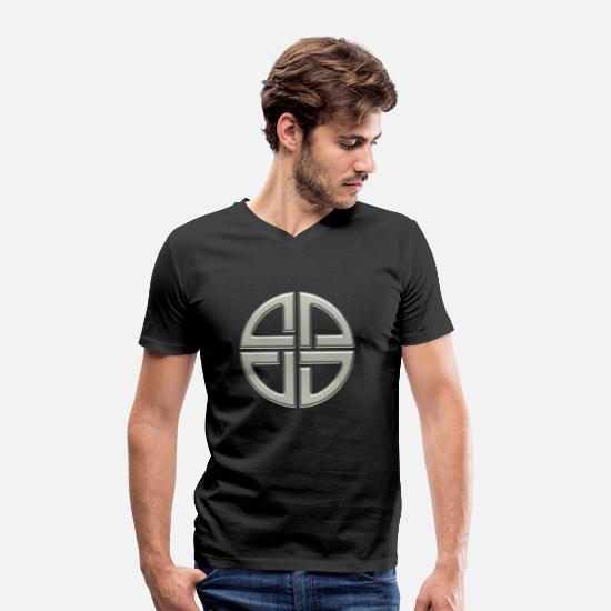 Christianity T-Shirts - Celtic shield knot, Protection Amulet, Germanic, - Men's Organic V-Neck T-Shirt black