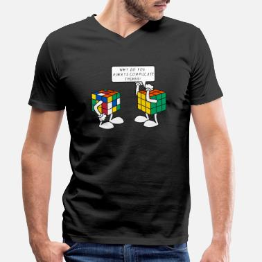 Cube Rubik's Cube Complicate Things Blague Humour - T-shirt bio col V Homme