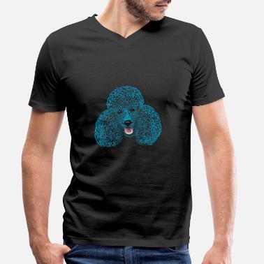 Caniche Caniche - tête de caniche - dessin / caniche / caniche maman - T-shirt bio col V Homme