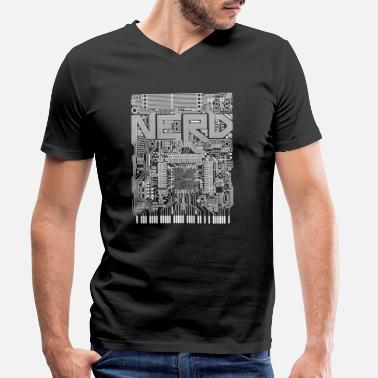 Motherboard Nerd motherboard white - Men's Organic V-Neck T-Shirt by Stanley & Stella