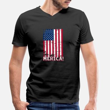Patriotic 4th of July American Flag Patriotic - Men's Organic V-Neck T-Shirt
