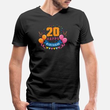 e0c4a52d0839e Cumpleaños 20 cumpleaños de 20 años de regalo de cumpleaños feliz - Camiseta  con cuello de
