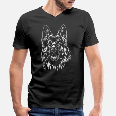 Long GERMAN SHEPHERD long hair Wilsigns - Men's Organic V-Neck T-Shirt
