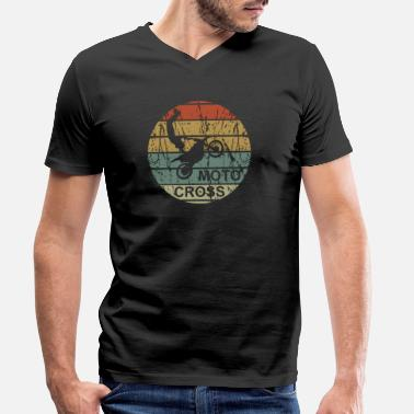 Motocross Motocross retro - motorcycle, dirtbike, freestyle - Men's Organic V-Neck T-Shirt