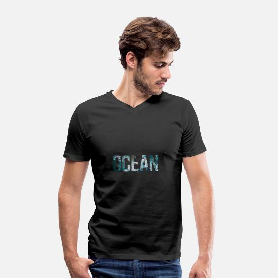 Waves T-Shirts - ocean - Men's Organic V-Neck T-Shirt black