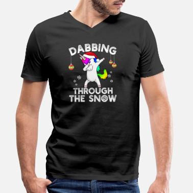 Dab Babbo Natale Dabbing through the Snow Einhorn Weihnachten Kind - T-shirt ecologica da uomo con scollo a V di Stanley & Stella