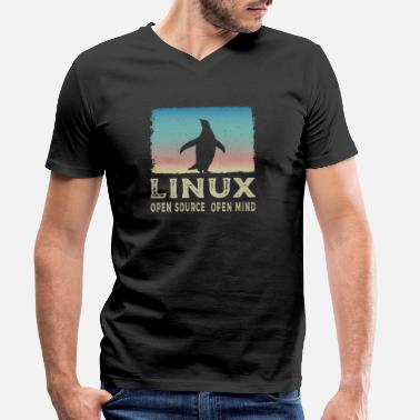 Open Linux - Open Source Open Mind - T-shirt bio col V Homme