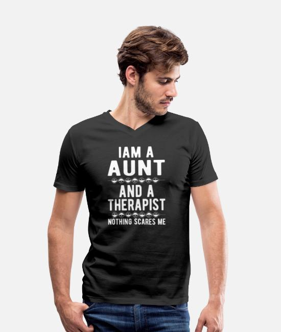 Mental Health T-Shirts - Aunt Therapist: Iam a Aunt and a Therapist - Men's Organic V-Neck T-Shirt black