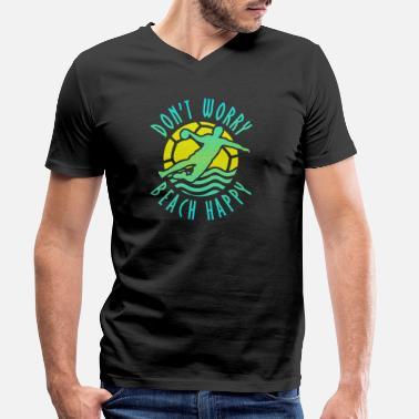 No te preocupes Playa Balonmano playa feliz - Camiseta con cuello de pico  hombre 1fc2b986e5c