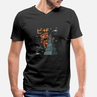 Pizza Anime Pizza Kong Monster Japan Outhouse Regalo - Camiseta con cuello de pico hombre