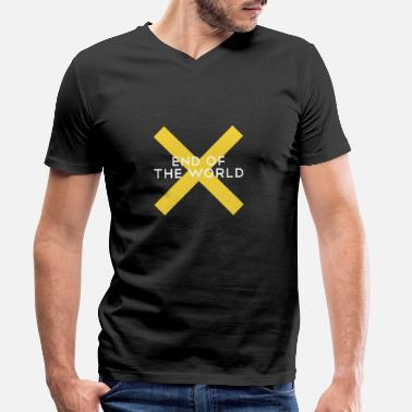 World End of the world / End of the world Stop Yellow x - Men's Organic V-Neck T-Shirt