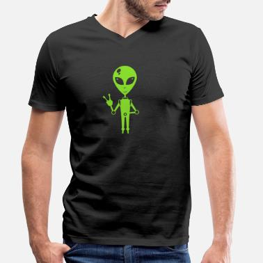 Ovni Chemise extraterrestre OVNI extraterrestre Paix - T-shirt bio col V Homme
