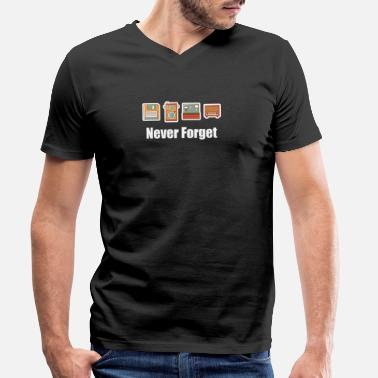 Radio Station Never Forget Floppy Disk, Camera & Radio - Men's Organic V-Neck T-Shirt by Stanley & Stella