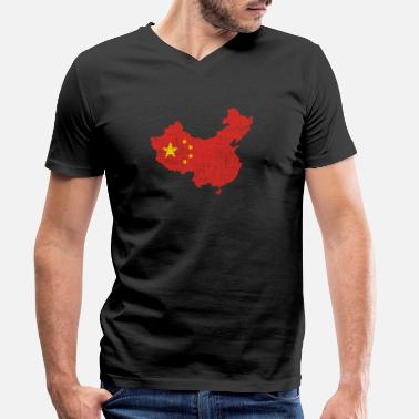 Chine Chine drapeau carte chinoise culture Asie - T-shirt bio col V Homme