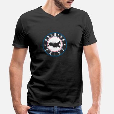 Russischer Stolz Geschenk Russland Slav - Männer Bio T-Shirt mit  V-Ausschnitt 77b79e543cf72