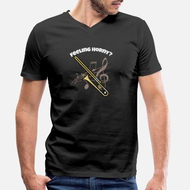 Trombone Brass Band Funny Trombone design Brass Horn Marching Band - Men's Organic V-Neck T-Shirt by Stanley & Stella