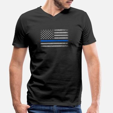 Police USA Flag Thin Blue Line Police Policeman Gift - Men's Organic V-Neck T-Shirt