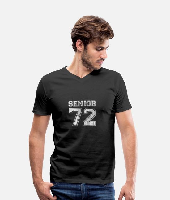 1972 T-Shirts - Senior 72 School Reunion Retro T Shirt Poison - Men's Organic V-Neck T-Shirt black