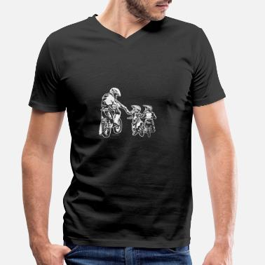 Motocross Biker Dad and Two Kids - Men's Organic V-Neck T-Shirt
