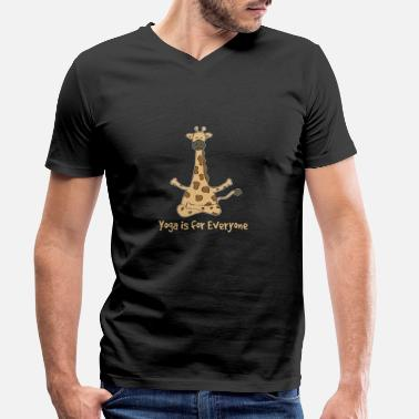 Vegan Yoga giraffe - Men's Organic V-Neck T-Shirt