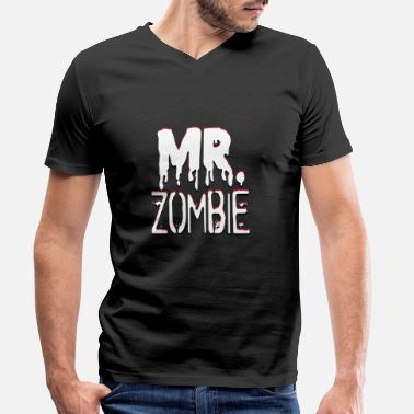 Mr And Mrs Mr. Zombie und Mrs. Zombie Partnerlook - Männer Bio T-Shirt mit V-Ausschnitt