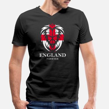 Cross Of St George ENGLAND LION HEAD WITH ST. GEORG CROSS - Men's Organic V-Neck T-Shirt by Stanley & Stella