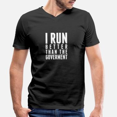 Funny Running run - Men's Organic V-Neck T-Shirt