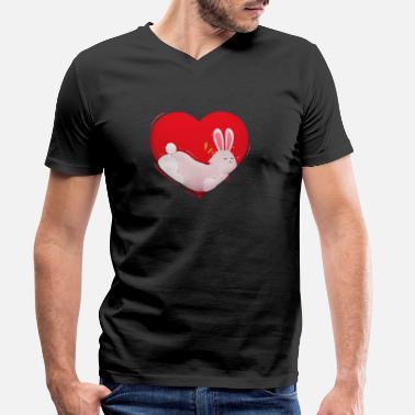 I Love Heart Rabbits V-Neck T-Shirt