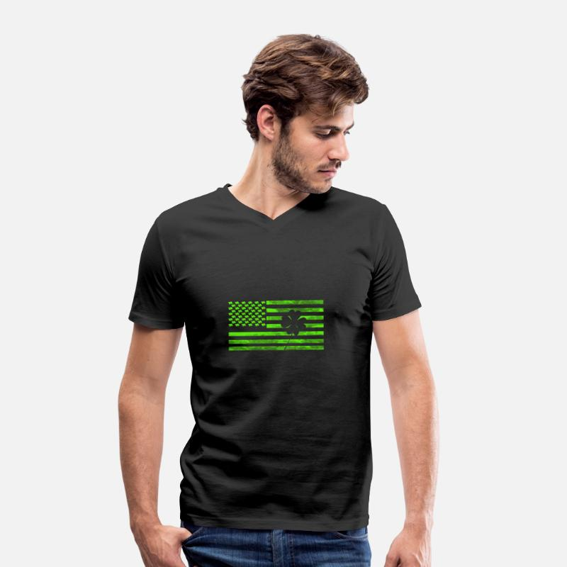 Day T-Shirts - St Patricks Day - Green Flag with Shamrock - Men's Organic V-Neck T-Shirt black