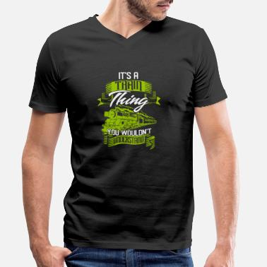 Steam train - Men's Organic V-Neck T-Shirt